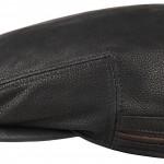 Casquette plate Kent Cowhide EF Stetson cuir noir + protège-oreilles rabattables en polaire