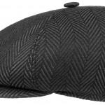 Casquette Gavroche Herringbone Stetson noir et gris