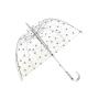 Parapluie cloche pois argentés femme automatique transparent