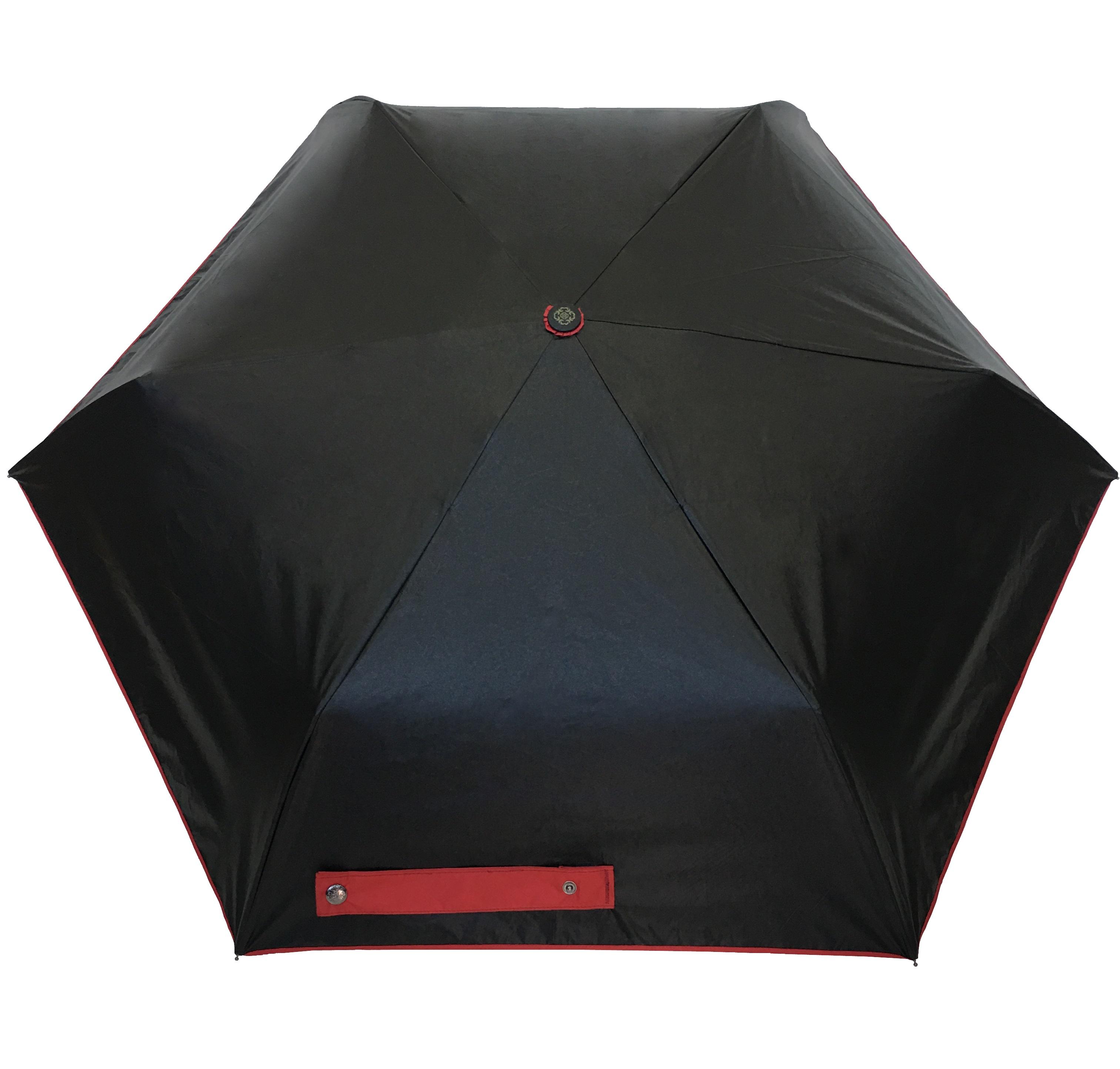 Parapluie pliant mixte automatique anti UV noir et rouge - Kausia 7508a5d8354