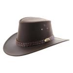 Chapeau Australien en cuir Jacaru Wallaroo Oil marron