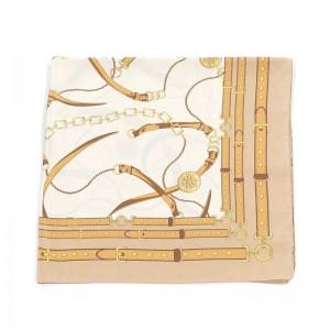 Carré foulard beige polyester 90 x 90