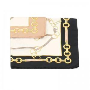 Carré foulard noir polyester 90 x 90