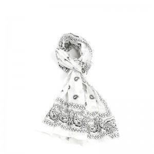 Écharpe blanc coton bandana 70 x 180