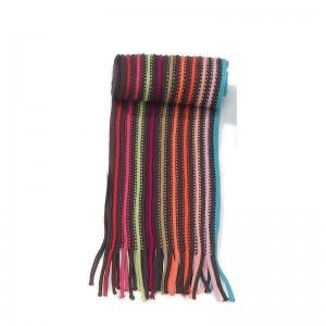 Écharpe marron multicolore rayée maille acrylique + franges 20 x 197