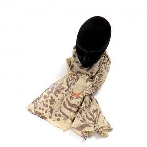 Étole beige marron coton léopard torsadée 110 x 180