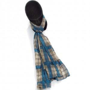 Étole bleu canard coton carreaux torsadée 110 x 180