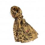 Étole camel foncé noir coton léopard torsadée 110 x 180