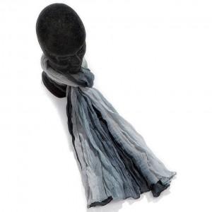 Étole dégradée gris foncé coton torsadée 110 x 180