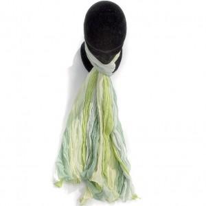 Étole dégradée vert anis coton torsadée 110 x 180