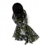 Étole kaki coton camouflage torsadée 110 x 180