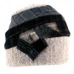 Bonnet à bandes alternées Earth, décoration cuir avec deux pressions, élastiqué