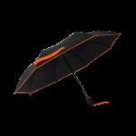 Parapluie pliant femme automatique noir petite bordure orange