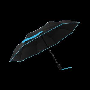 Parapluie pliant femme automatique noir petite bordure turquoise