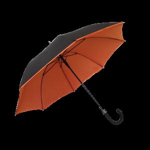 Parapluie droit mixte automatique noir et orange