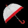 Parapluie cloche femme transparent bordure rouge
