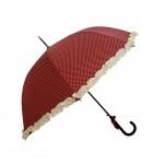 Parapluie droit femme automatique froufrou rouge