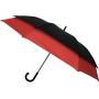 Parapluie droit mixte automatique double extension noir et rouge