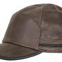 Casquette Byers Stetson cuir marron foncé + protège-oreilles rabattables en polaire