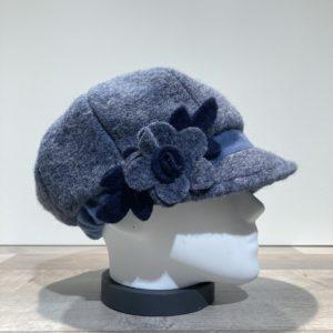 Casquette gavroche bleu élastiquée doublure polaire