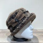 Chapeau cloche marron-gris doublure polaire