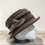 Chapeau cloche marron foncé-marron clair doublure polaire