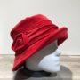 Chapeau cloche velours rouge doublure polaire