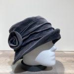 Chapeau cloche velours gris doublure polaire