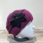 Bonnet violet et noir doublure polaire