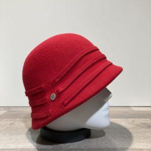 Cloche feutre laine rouge