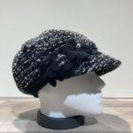 Casquette gavroche noir-gris-écru élastiquée doublure polaire