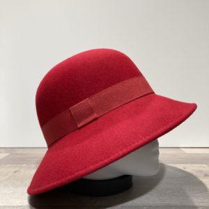 Chapeau bord moyen feutre laine rouge