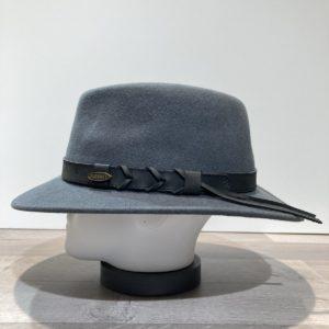 Chapeau traveller feutre laine gris avec cache-oreilles rabattables