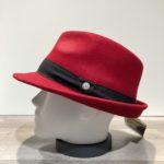Chapeau trilby feutre laine rouge