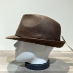 Chapeau trilby imitation cuir marron