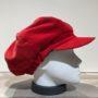 Casquette gavroche gros volume velours rouge élastiquée doublure polaire
