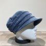 Casquette gavroche velours bleu élastiquée doublure polaire