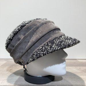 Casquette cubaine bi matière noir-gris élastiquée doublure polaire