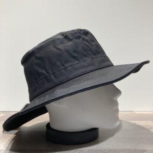 Bob coton huilé bord large noir doublé coton
