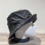Chapeau bob de pluie noir doublure polaire gris chiné