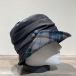 Chapeau cloche de pluie noir bord avec carreaux doublure polaire