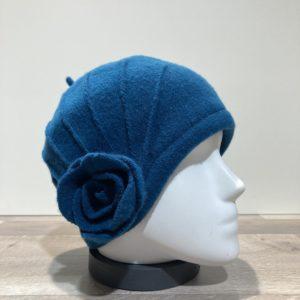 Bonnet laine bouillie bleu
