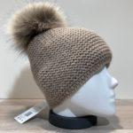 Bonnet uni taupe doublé avec pompon