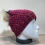 Bonnet tricot uni framboise strass doublé avec pompon Herman