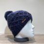 Bonnet tricot uni marine doublé avec pompon Herman