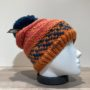 Bonnet tricot multicolore orange doublé avec pompon Herman