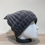 Bonnet grosse maille uni gris doublé avec revers Herman