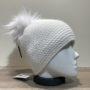 Bonnet uni blanc doublé avec pompon