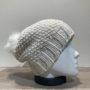 Bonnet tricot uni blanc fil en lurex brillant doublé avec pompon Herman