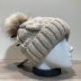 Bonnet tricot torsadé uni beige doublé avec pompon